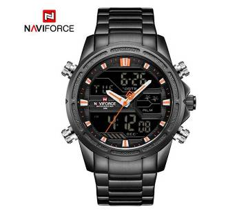 NAVIFORCE NF9138 STAINLESS STEEL DUAL TIME WRIST WATCH FOR MEN - BLACK & ORANGE