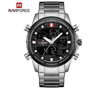 NAVIFORCE NF9138 STAINLESS STEEL DUAL TIME WRIST WATCH FOR MEN - SILVER