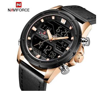 NAVIFORCE NF9138 PU LEATHER TWO TIME WRIST WATCH FOR MEN - ROSEGOLD