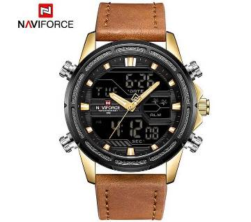 NAVIFORCE NF9138 PU LEATHER TWO TIME WRIST WATCH FOR MEN - GOLDEN
