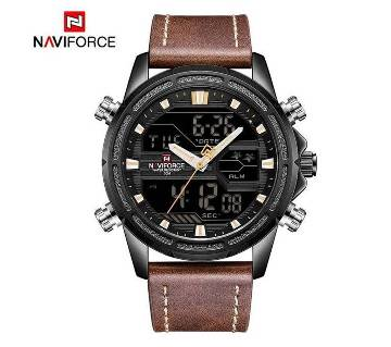 NAVIFORCE NF9138 PU LEATHER TWO TIME WRIST WATCH FOR MEN - BLACK & BROWN