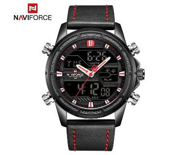 NAVIFORCE NF9138 PU LEATHER TWO TIME WRIST WATCH FOR MEN - BLACK & RED