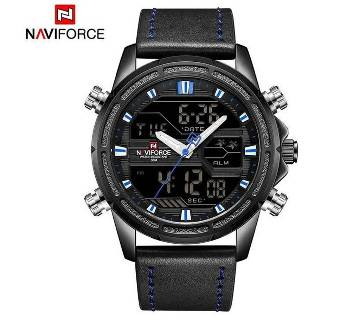 NAVIFORCE NF9138 PU LEATHER TWO TIME WRIST WATCH FOR MEN - BLACK & BLUE