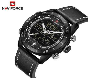 NAVIFORCE NF9144  Mens Double Display PU Leather Watch For Men - BLACK