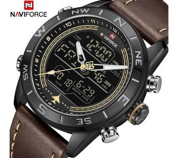 NAVIFORCE NF9144 Mens Double Display PU Leather Watch For Men - BROWN & BLACK