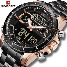 NAVIFORCE NF9138 STAINLESS STEEL DUAL TIME WRIST WATCH FOR MEN - BLACK & COPPER