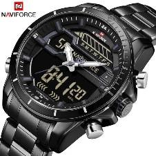 NAVIFORCE NF9138 STAINLESS STEEL DUAL TIME WRIST WATCH FOR MEN - BLACK & ASH