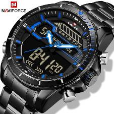 NAVIFORCE NF9133 STAINLESS STEEL DUAL TIME WRIST WATCH FOR MEN - BLACK & BLUE