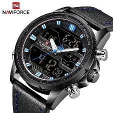 NAVIFORCE NF9138 STAINLESS STEEL DUAL TIME WRIST WATCH FOR MEN - BLACK & BLUE