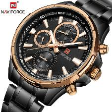 NAVIFORCE NF9089 STAINLESS STEEL DUAL TIME WRIST WATCH FOR MEN - BLACK & COPPER