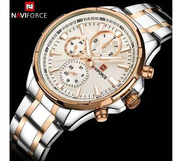 NAVIFORCE NF9089 STAINLESS STEEL DUAL TIME WRIST WATCH FOR MEN - SILVER & COPPER