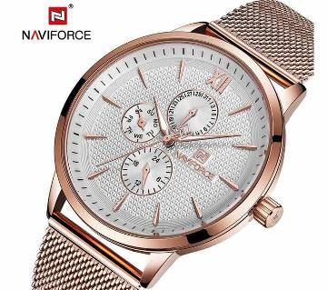NAVIFORCE NF3003 STAINLESS STEEL CHRONOGRAPH WRIST WATCH FOR MEN - COPPER