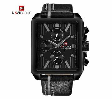 NAVIFORCE NF9111 PU LEATHER WRIST WATCH FOR MEN - ASH