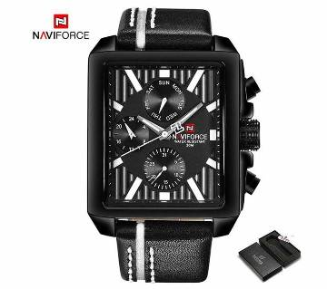 NAVIFORCE NF9111 PU LEATHER WRIST WATCH FOR MEN - BLACK & WHITE