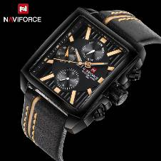 NAVIFORCE NF9111 PU LEATHER WRIST WATCH FOR MEN - BLACK & BROWN