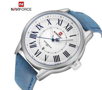 NAVIFORCE NF9126 PU LEATHER WRIST WATCH FOR MEN - BLUE