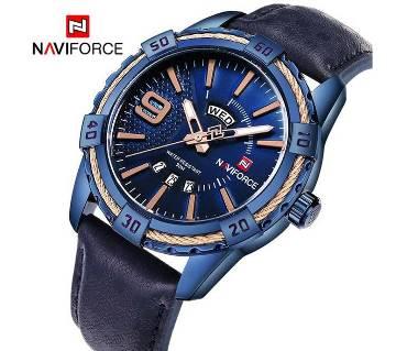NAVIFORCE NF9117 PU LEATHER WRIST WATCH FOR MEN - BLUE