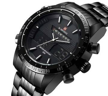 NAVIFORCE NF9024 STAINLESS STEEL DUAL TIME WRIST WATCH FOR MEN_BLACK