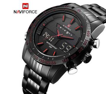 NAVIFORCE NF9024 STAINLESS STEEL DUAL TIME WRIST WATCH FOR MEN - BLACK & RED