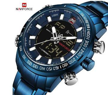 NAVIFORCE NF9093 STAINLESS STEEL DUAL TIME WRIST WATCH FOR MEN - BLUE
