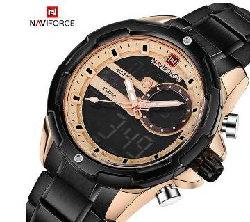NAVIFORCE NF9120 STAINLESS STEEL DUAL TIME WRIST WATCH FOR MEN - BLACK & COPPER
