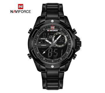 NAVIFORCE NF9120 STAINLESS STEEL DUAL TIME WRIST WATCH FOR MEN - BLACK