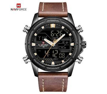 NAVIFORCE NF9138 PU LEATHER DUAL TIME WRIST WATCH FOR MEN - COFFEE