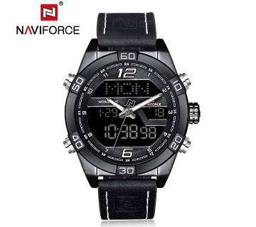 NAVIFORCE NF9128 PU LEATHER DUAL TIME WRIST WATCH FOR MEN - BLACK & WHITE
