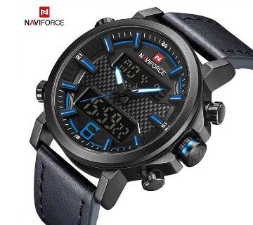 NAVIFORCE NF9135 PU LEATHER DUAL TIME WRIST WATCH FOR MEN - BLACK & BLUE