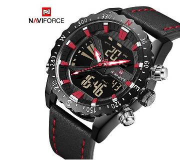 NAVIFORCE NF9136 PU LEATHER DUAL TIME WRIST WATCH FOR MEN - BLACK & RED