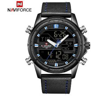 NAVIFORCE NF9138 PU LEATHER DUAL TIME WRIST WATCH FOR MEN - BLACK & BLUE
