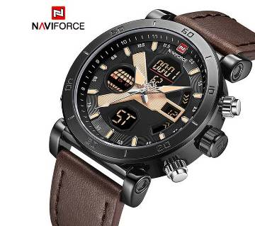 NAVIFORCE NF9132 PU LEATHER DUAL TIME WRIST WATCH FOR MEN - BLACK & COFFEE