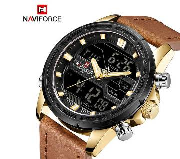 NAVIFORCE NF9138 PU LEATHER DUAL TIME WRIST WATCH FOR MEN - GOLDEN & BROWN