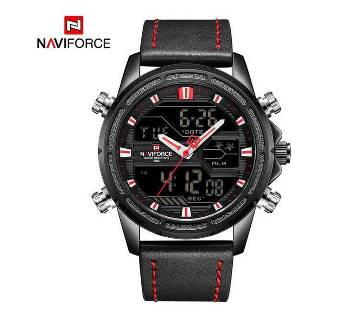 NAVIFORCE NF9138 PU LEATHER DUAL TIME WRIST WATCH FOR MEN - BLACK & RED