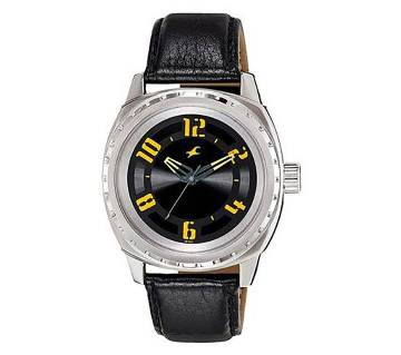 Fastrack 3071SFB - Black Leather Watch for Men