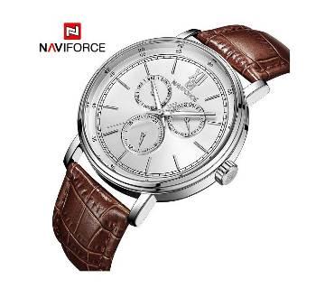 NF3002 SILVER PU LEATHER Chronometer WRIST WATCH