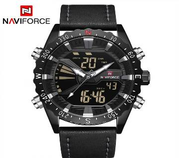 NAVIFORCE-NF9136 ASH PU LEATHER TWO TIME WRIST WATCH