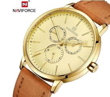 NAVIFORCE NF3001 BROWN PU LEATHER Chronometer WRIST WATCH