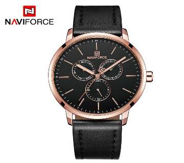 NAVIFORCE NF3001 ROSEGOLD PU LEATHER Chronometer WRIST WATCH