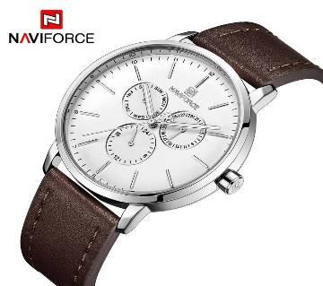 NAVIFORCE NF3001 SILVER PU LEATHER Chronometer WRIST WATCH