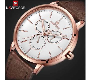 NF3001 BROWN PU LEATHER Chronometer WRIST WATCH