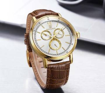 NAVIFORCE NF3002 BROWN PU LEATHER Chronometer WRIST WATCH