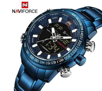 NAVIFORCE NF9093 BLUE STAINLESS STEEL DUAL TIME WATCH
