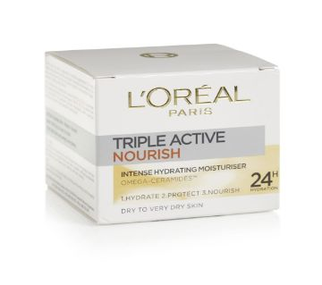 Loreal Day Cream Triple Active Nourish 24hr 50ml - UK