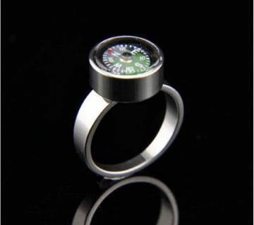 Titanium Steel Mini Compass Finger Ring for men
