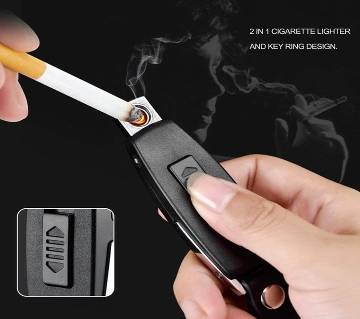 Rechargeable Electronic USB Cigarette Lighter With Key Ring