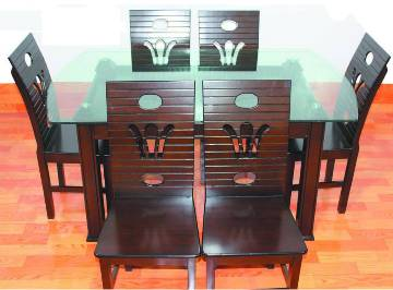 MDF Wooden Dining Table with 6 chair