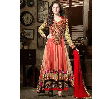 Semistitched embroidery georgette three piece-copy