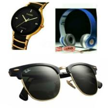 RADO Gents Wristwatch (Copy) + Beats Solo HD Wired Headphones (Copy) + Ray Ban Sunglasses for Men (Copy) Combo Offer
