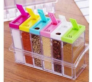 Transparent spice storage pot-6 pcs
